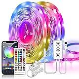 ARKOCHIC RGB 5050 - Tira de luces LED (20 m, con mando a distancia y control por Bluetooth, sincronización de música, cambio de color, autoadhesiva, para habitaciones, casa, fiesta, cocina)