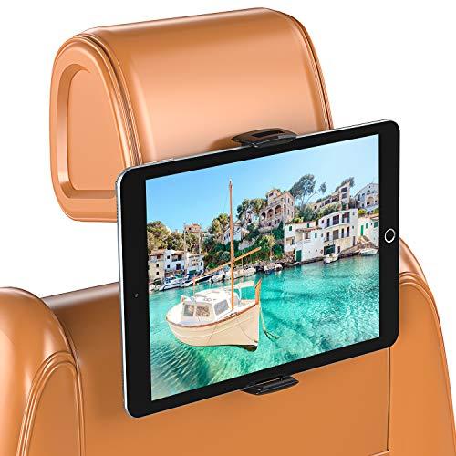 Bovon Soporte Tablet Coche, Soporte iPad Coche con Silicona Antideslizante, Giratorio 360°, Soporte Tablet Coche Reposacabezas Compatible con iPad Air/Pro, iPhone 12/12 Pro/12 Mini (5.5'-13')