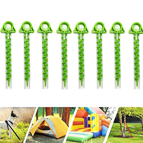 Camping Tent Ground Screw Ultimate Ground Anchor Shofar Pegs Lightweight Dog Garden Spike Nails Plastic Screw Style Canopy Stakes Nails for Outdoor Mountaineering 8pcs green