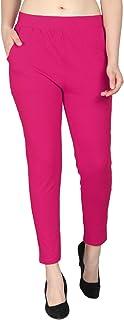LAPZA Cotton Lycra Ankle Length Leggings with Side Pockets, Plus 10 Colors, Sizes:- M,L,XL,2XL,3XL