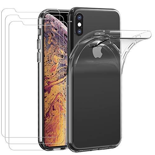 iVoler Custodia Cover per iPhone XS/iPhone X + 3 Pezzi Pellicola in Vetro Temperato, Ultra Sottile Morbido TPU Trasparente Silicone Antiurto Protettiva Case per iPhone XS/iPhone X