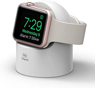 elago W2 Stand for Apple Watch, Supports Nightstand Mode, Cable Management, Scratch-Free Silicone, Compatible with apple watch Series 5, Series 4, Series 3, Series 2, Series 1, 44mm, 42mm, 40mm, 38mm (White)