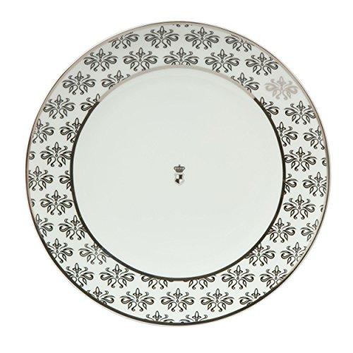 Goebel Assiette à Dessert Motif Floral Noir/Blanc 23 cm