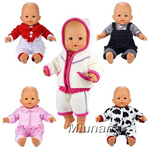 Miunana 5X Vestidos Verano Casual Ropas Fashion para 14- 16 Pulgadas Muñeca bebé