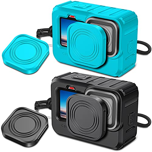 FINPAC Protective Silicone Sleeve Case Set of 2 for GoPro Hero 9 Black, Soft Rubber Waterproof Housing Case with Lanyard and 2 x Lens Caps (Black + Legacy Teal)