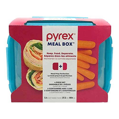 PYREX Divided Rectangle Glass Storage, 4 CT