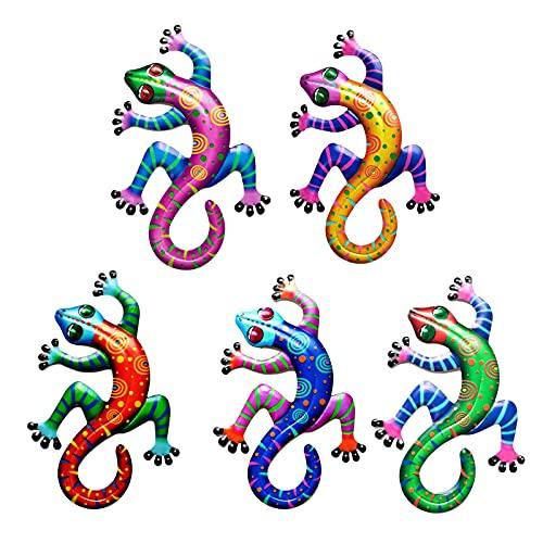 biteatey Gecko - Decoración de pared de hierro inoxidable para decoración de pared, diseño de lagartos de metal para el hogar, jardín, colgante de escultura