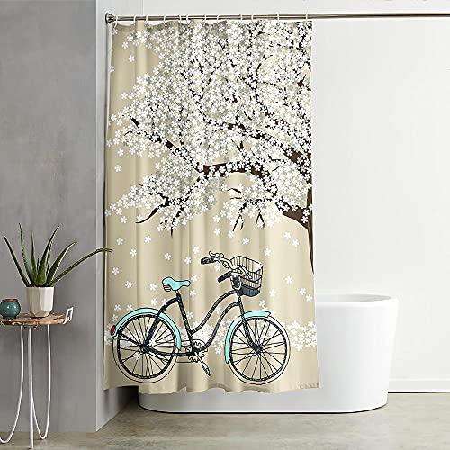 ZDPLL Wasserdicht Duschvorhang Pfirsichblüte und Fahrrad Stoff Polyester Duschvorhänge, Shower Curtains mit Duschvorhangringe für Badewanne & Bathroom 150x200cm