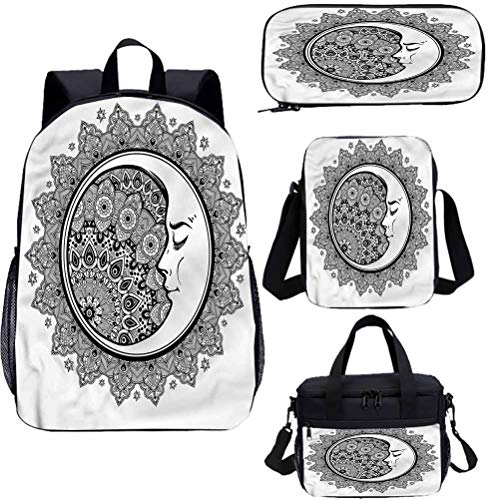 Zodiac Mochila de 15 pulgadas con bolsa de almuerzo conjunto de estuche, Moon Bohemian 4 en 1 conjuntos de mochila