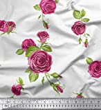 Soimoi Weiß Satin Seide Stoff Blätter & Austin Rose Blume