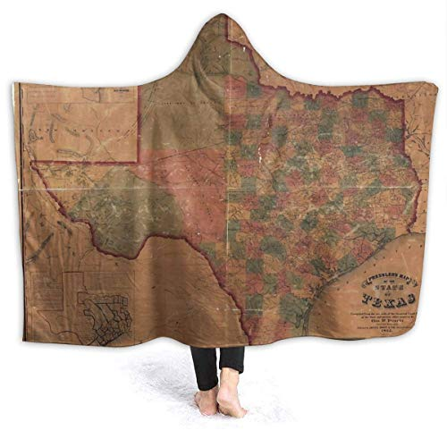 maichengxuan Hooded Blanket 3D Pressler's Map of The State of Texas Super Soft Sherpa Fleece Blanket 60'x50'