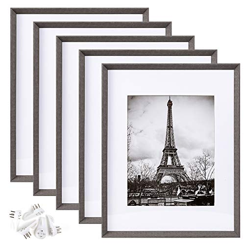 upsimples 11x14 Picture Frame Set of 5,Display Pictures 8x10 with Mat or 11x14 Without Mat,Rustic Photo Frames Collage for Wall Display,Dark Grey