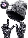 SATINIOR Gorro Unisex de 8 LED y Guante Táctil de Pantalla Sombrero con Luz de Modo de Alarma, Guante de Gel de Silicona Antideslizante, USB Recargable (Gris)