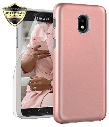 Galaxy J3 Orbit/ J3V J3 V 3rd Gen/Express Prime 3/ J3 Star/ J3 Achieve/Amp Prime 3/ J3 Aura/Sol 3 Case, Androgate Hybrid Matte Cover Case with Screen Protector for Samsung Galaxy J3 2018, Rose Gold