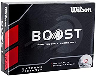 Wilson Boost High Velocity Engineered Extreme Distance Soft Golf Balls | White (Pack of 12 Balls)
