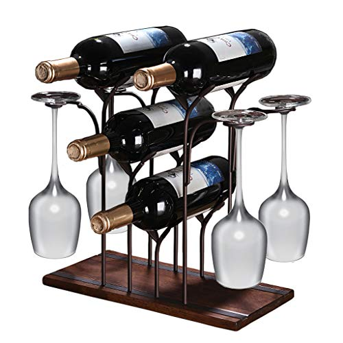 Bkey Countertop Wine Rack with Glass Holder, Hold 4 Bottle and 4 Glasses, Wood Tabletop Wood Wine Holder Metal Wine Botttle and Glass Display Sheloves for Home Decor, Bar, Wine Cellar, Cabinet