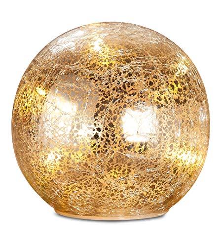 GILDE LED Kugel - aus Glas in gold für 3x AAA Batterien H 11 cm D 11 cm