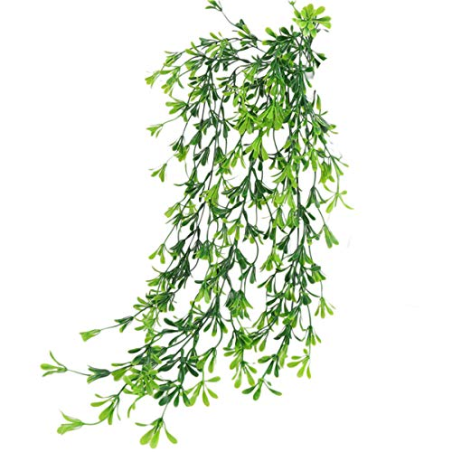 Aiccossr Artificial Plant Vines with Flowers, Fake Ivy Plastic Hanging Greenery Plant, Wall Decoration for Home Office Wedding Party Indoor Outdoor (Green)