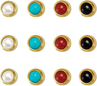 12 pairs 24ct Gold Plated - Assorted Pearls 4 color