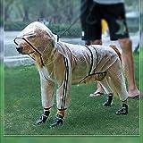 ZDSS Impermeable para Perros Abrigo Impermeables con Capucha,Chubasquero Reflectante y Ajustable,Poncho de Lluvia Impermeable para Perros Grandes,Transparente,Impermeable para Mascotas