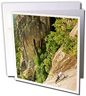 Rock climbing, Cathedral Ledge Echo Lake NH - Greeting Card, 6 x 6 inches, single (gc_92413_5)