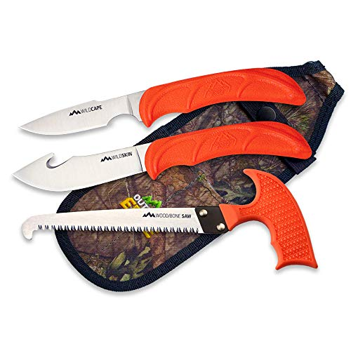Outdoor Edge WildGuide, 4-Piece Hunting Knife/Saw Combo Set with Fixed Blade Caping Knife, Gut-Hook Skinner, T-Handle Wood/Bone Saw, and Mossy Oak Camo Nylon Belt Sheath