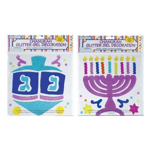 Rite-Lite Judaica Chanukah Window Gel Decorations, Glitter Asst.