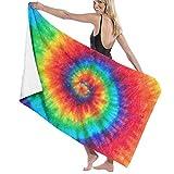Rajfoo Spiral Tie Dye Microfiber Bath Towel Beach Towel Beach Blanket Quick Dry Towel for Travel Swim Pool Yoga Camping Gym