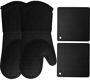 HOMWE Silicone Oven Mitts and Pot Holders 4-Piece Set Heavy Duty Cooking Gloves Kitchen Counter Safe Trivet Mats Advanced Heat Resistance Slip-Resistant Textured Grip Black