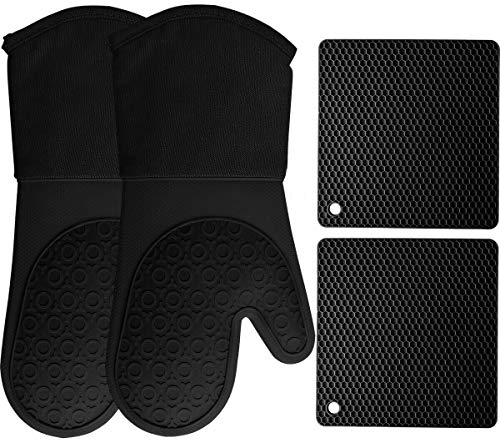 HOMWE Silicone Oven Mitts and Pot Holders, 4-Piece Set, Heavy Duty Cooking Gloves, Kitchen Counter Safe Trivet Mats, Advanced Heat Resistance, Non-Slip Textured Grip (Black)