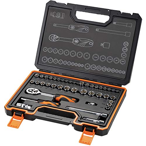 """KENDO 42-Pieces 3/8'' & 1/4"""" Dr. Ratchet Socket Wrench Set for Mechanics - Professional CRV SAE & Metric Sockets & Accessories + 72 Tooth Reversible Quick Release Wrench - Premium Carry Case Included"""