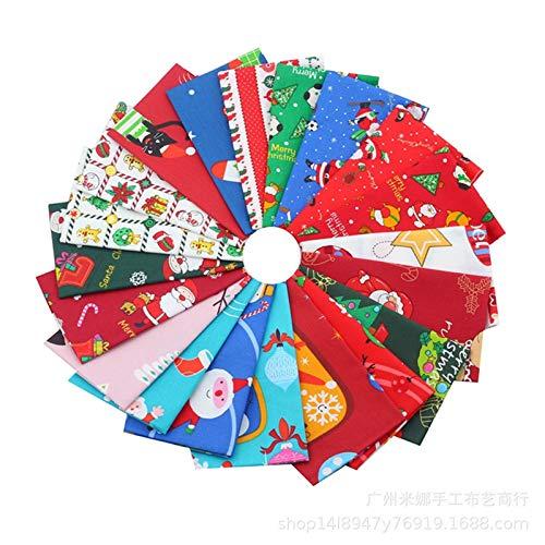 SWECOMZE - 20 piezas de tela de algodón de Navidad para costura, 25 x 25 cm, tela de patchwork, para manualidades, colchas, Navidad, costura, manualidades