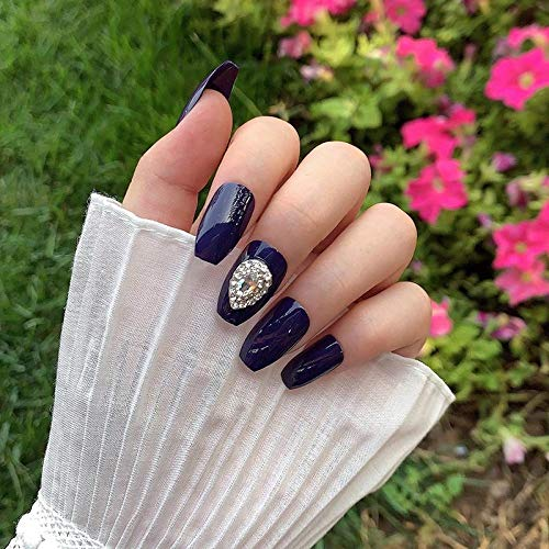 Faux ongles 24pcs Bijoux Blue Water Drop Forme Diamant Ballet Décoratif Faux Ongles Style mi-long Wearable Finished Products TY