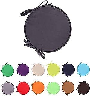 Nicole Knupfer Juego de 4 cojines redondos de fieltro lavables para sillas de interior y exterior, extraíbles (gris oscuro, 30 cm de diámetro)