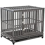 SMONTER 46' Heavy Duty Strong Metal Dog Cage Pet Kennel Crate Playpen Wheels,I Shape, Black