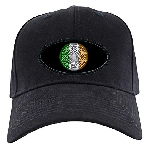 CafePress Celtic Shield Knot with Irish Flag Black Cap Baseball Hat, Novelty Black Cap