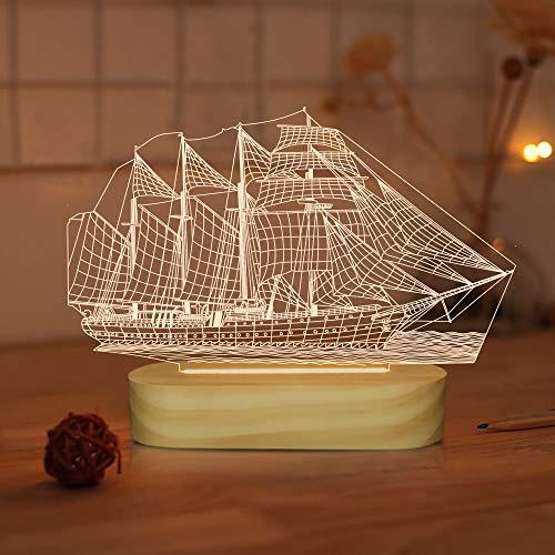 Luz nocturna LED 3D para barco de velero con colores blancos cálidos suaves para decoración de habitación de oficina, regalo USB, lámpara de escritorio con base de madera