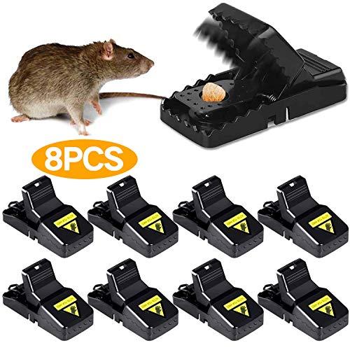 Th-some 8 PCS Mäusefallen mit Köder Schlagfalle Effektive Rattenfalle Hochfester Leistungsstark Hygienisch Effizient Wiederverwendbar Tötungsfallen in Haus und Garten JAANY