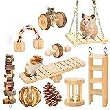 Juguetes para Masticar hmster, Gerbil Rat Guinea Pig Chinchilla Chew Toys, Mancuernas de Madera Natural Ejercicio Bell Roller Dientes Cuidado Molar Juguete para Conejos Pjaro Conejo