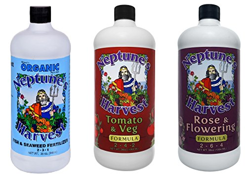 Neptune's Harvest 36 oz Three Bottle Collection - Fish and Seaweed, Flower and Rose, Tomato and Vegetable
