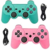 Tidoom PS3 Controller 2 Pack Wireless Bluetooth 6-Axis Gamepad Controllers Compatible for Playstation 3 Controller PS3 Wireless Controller (Green and Pink)