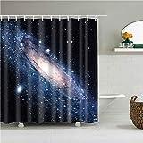 XCBN Tende da doccia 3D Cielo Stellato Notturno Tende da bagno Tenda da bagno impermeabile Tenda da bagno con ganci Tende A1 90x180 cm