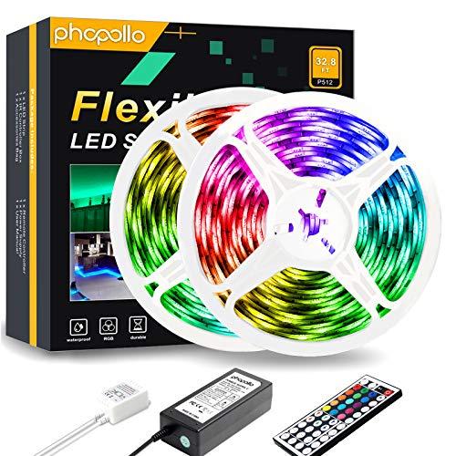 PHOPOLLO 32.8ft Led Strip Lights, 5050 Led Lights for Bedroom, Kitchen, Home Decoration