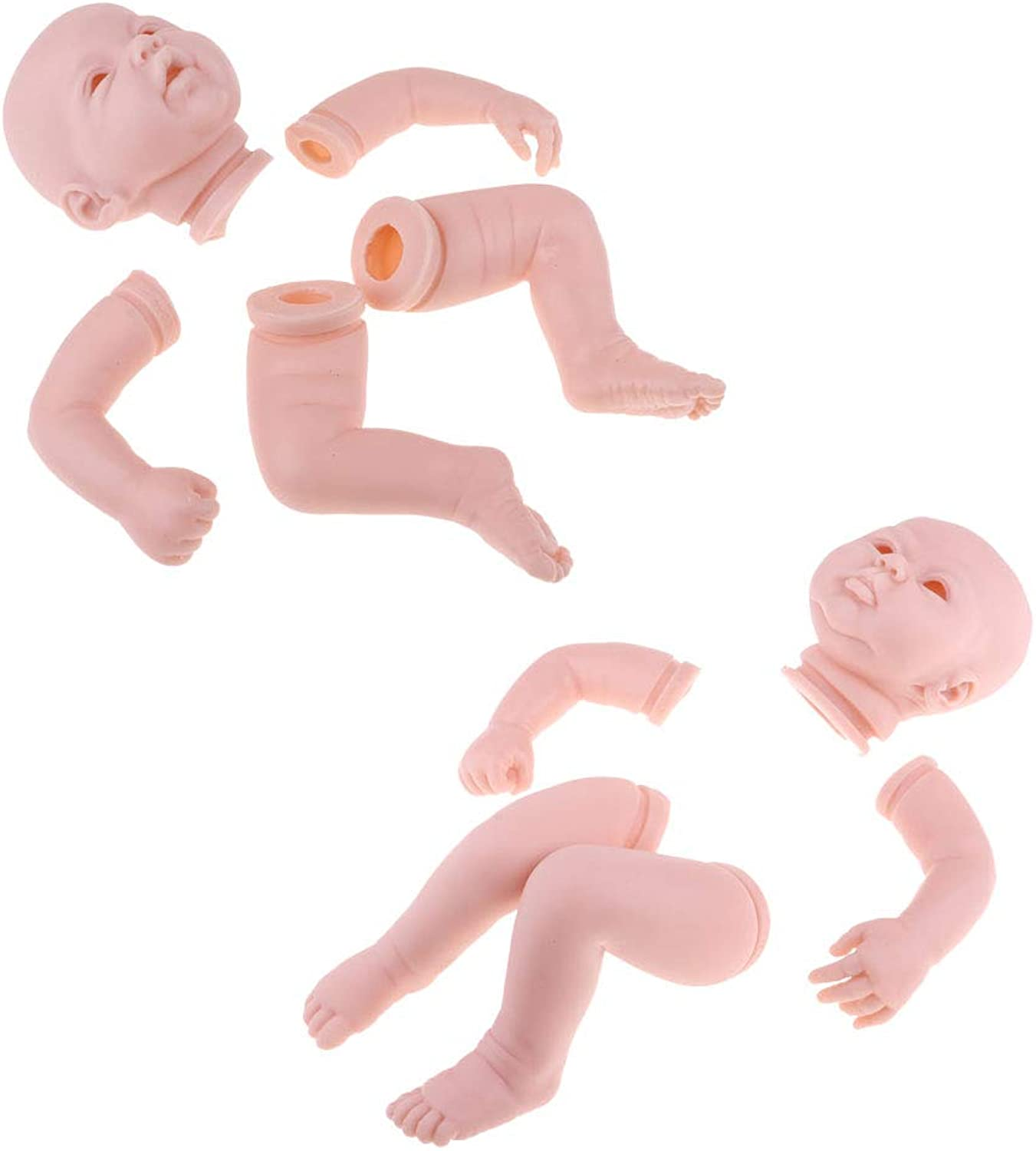 Kesoto 2pcs Real Soft Silicone 20inch Reborn Kits Baby Doll with Blank Head, Limbs Mold Accs