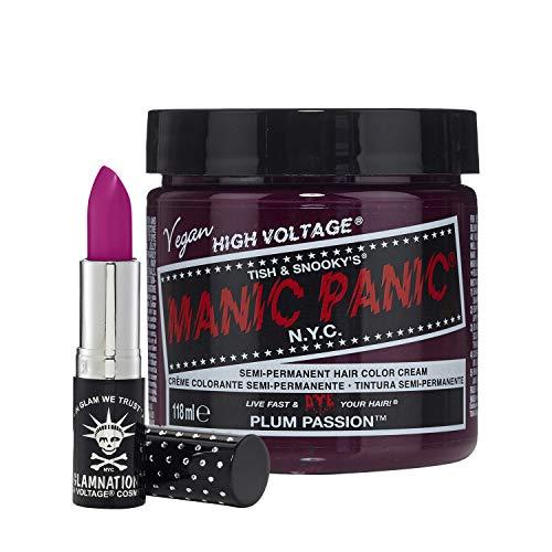 MANIC PANIC Plum Passion Lethal Lipstick Bundle with Plum Passion Hair Dye – Semi Permanent Hair Color