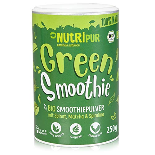 BIO Smoothie Pulver: 250g Green Smoothie Pulver mit Spinat, Bio Matcha Pulver, Spirulina Pulver, Bio Gerstengras Pulver uvm. – Grüner Smoothie Mix – Glutenfreie, vegane Bio Greens Pulver von NutriPur