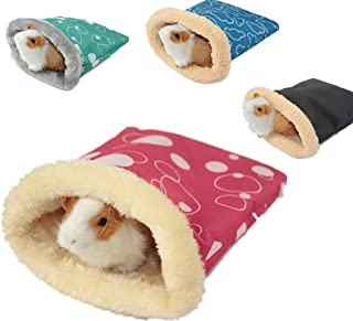 POPETPOP Guinea Pig Bedding-Hedgehog Snuggle Sack Rat House Bed Winter Warm Fleece Small Pet Syrian Hamster Chinchilla Bed House Cage Nest Random Color-Small