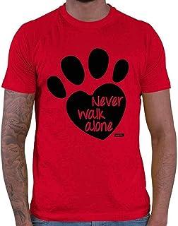 """HARIZ Camiseta para hombre con texto en inglés """"Never Walk Alone"""", incluye tarjeta de regalo"""