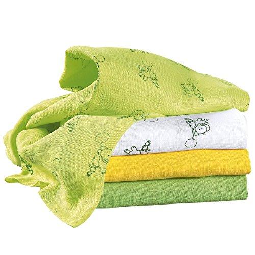 Bornino Lot de 3 langes en gaze 70 x 70 cm couche en tissu jaune//bleu//vert