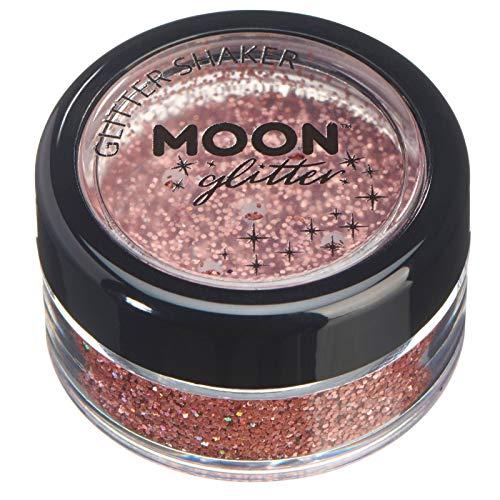 Holographische Glitzer Shaker von Moon Glitter - 100% kosmetischer Glitzer für Gesicht, Körper, Nägel, Haare und Lippen - 5gr - Roségold